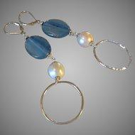 Blue Kyanite and Freshwater Cultured Pearl Gem Earrings