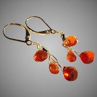 Mandarin Garnet (Spessartite) Gemstone Earrings