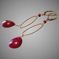 Ruby Gemstone Minimalist Earrings with 14k Gold Fill