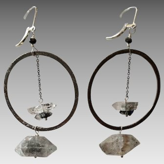 Herkimer Diamond Gemstone Hoop Earrings with Sterling Silver