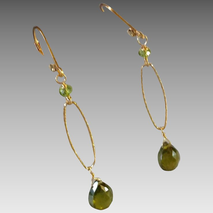 Olive Green Vesuvianite Gemstone Earrings With 14k Gold Fill