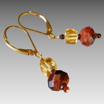 Red Tiger Eye and Citrine Gemstone Earrings with 14k Gold Fill