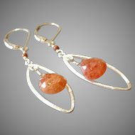 Sunstone Gem Earrings with Sterling Silver