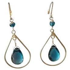 London Blue Topaz Earrings/Fine Gemstone Earrings/ with Sterling Silver