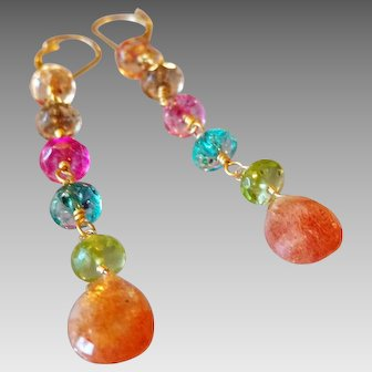 Sunstone and Friends Gemstone Earrings with 14k Gold Fill