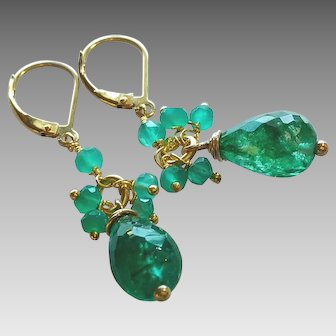 Emerald Gemstone Large Drop Earrings with 14k Gold Fill
