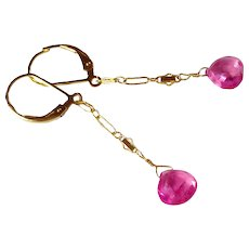 Hot Pink Sapphire/Ruby (Corundum) Gemstone Earrings with 14k Gold Fill