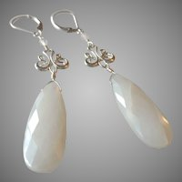 White Moonstone Gem Large Drop Earrings with Sterling Silver