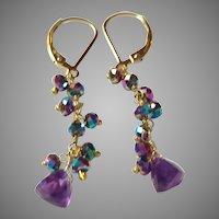 Amethyst Gemstone Earrings with Peacock Pyrite and Gold Fill Lever Backs