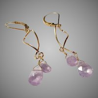 Rare Lavender-Pink Translucent Kunzite Fine Gemstone Earrings with Gold Fill