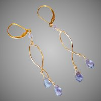 Tanzanite Gemstone Earrings with Gold Fill Twists and Lever Backs