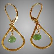 Tsavorite aka Green Garnet Gemstone Earrings with Gold Vermeil