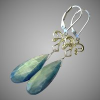 Aqua Coated Moonstone Gem Earrings with Sterling Silver Lever Backs