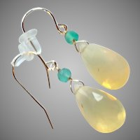 Yellow Opal and Green Emerald Gemstone Earrings with 14k Gold Ear Wires