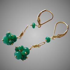 Emerald Gemstone Cluster Earrings with Gold Fill Chain and Lever Backs