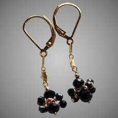 Black Spinel Gemstone Cluster Earrings with Gold Fill Chain and Lever Backs