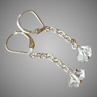Small Herkimer Diamond Earrings with Sterling Silver Chain and Lever Backs