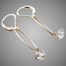 Herkimer Diamond Gemstone Minimalist Earrings with 14k Gold Fill