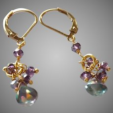 Mystic Topaz and Mystic Amethyst Gemstone Earrings with Gold Fill Lever Backs