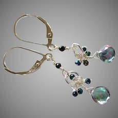 Mystic Topaz Gemstone Earrings with Black Spinel and Sterling Silver Lever Backs