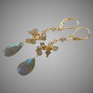Labradorite Gemstone Dangle Earrings with Gold Fill Lever Backs