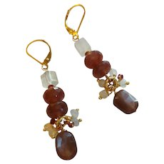 Chocolate and White Moonstone Gem Earrings with 14k Gold Fill Lever Backs