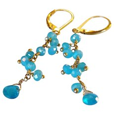 Blue Chalcedony and Neon Apatite Gemstone Earrings with 14k Gold Fill Lever Backs