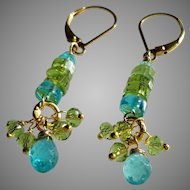 Sea Blue Apatite and Peridot Gemstone Earrings with 14k Gold Fill Lever Backs