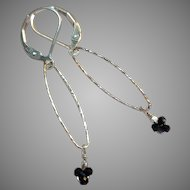 Minimalist Black Spinel Gem Earrings with Sterling Silver Lever Backs
