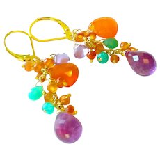 Amethyst, Carnelian and Chrysoprase Gem Earrings with 14k Gold Fill Lever Backs