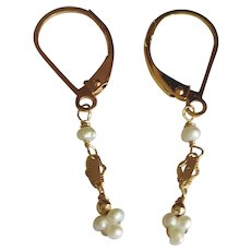 Tiny Freshwater Cultured Pearl Earrings with 14k Gold Fill