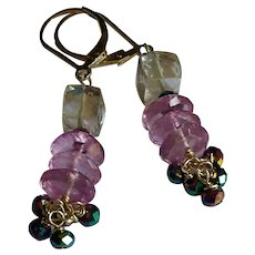 Pink Amethyst, Mystic Topaz and Peacock Pyrite Gemstone Earrings