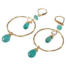 !4k Gold Fill Hoop Earrings with Apatite Gemstones