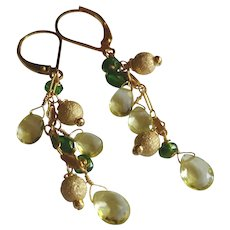 Lemon Quartz and Chrome Diopside Gemstone Earrings with 14k Gold Fill