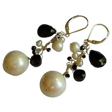 Black and White Gemstone Earrings with Spinel and Freshwater Cultured Pearls