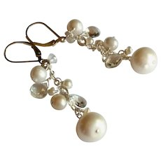 White Gemstone Earrings with Clear Topaz and Freshwater Cultured Pearls