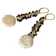 XL Freshwater Cultured Coin Pearls with Black Spinel Gem Chain