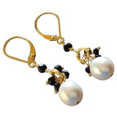 Medium-Sized Black and White Gemstone Earrings with 14k Gold Fill