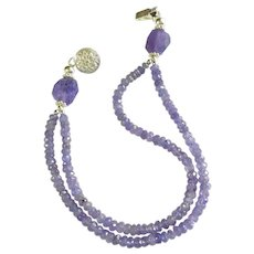 Tanzanite Gemstone Bracelet, Two Strands with Sterling Silver Click-in Clasp