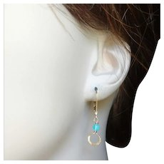 Tiny Artisan Hammered Gold Fill Hoop Earrings with Peruvian Opal