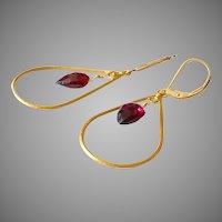 January Birthstone Fine Garnet Shield Shape Gem Earrings with Gold Vermeil Frame