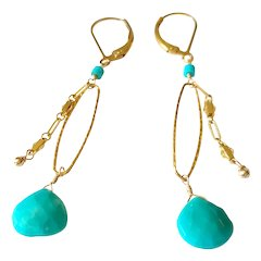 American-Mined Genuine Turquoise Gem Earrings with Gold Fill Lever Backs