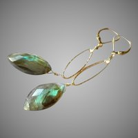 Marquise Cut Labradorite Gem Earrings with Gold Fill Lever Backs