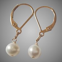 Small White Cultured Pearl Minimalist Earrings with Lever Backs