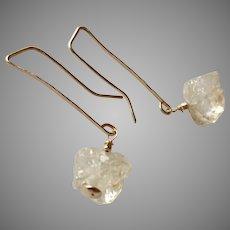 Herkimer Diamond Gemstone Earrings on Gold Fill Long Hammered Ear Wire