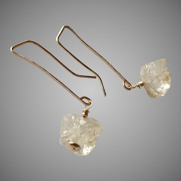 Herkimer Diamond Gemstone Earrings on Gold Fill Long Hammered Ear Wire