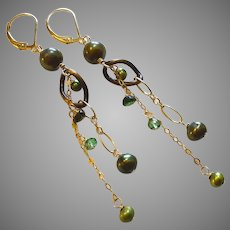 Green Freshwater Cultured Pearl Earrings with Gold Fill Lever Backs and Chain