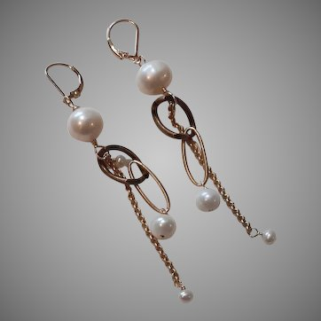 Voyage Series:Mixed Chain Earrings with Freshwater Cultured Pearls