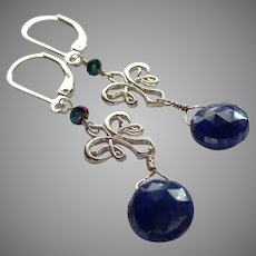 Midnight Blue Shimmery Moonstone Gemstone Earrings with Sterling Silver