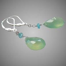 Prehnite Gemstone Earrings with Sterling Silver Lever Backs